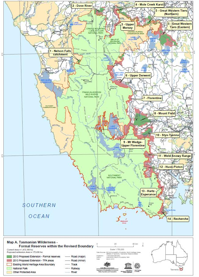 Tasmanian Wilderness 172000 ha addition