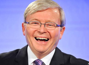 Kevin Rudd laughs