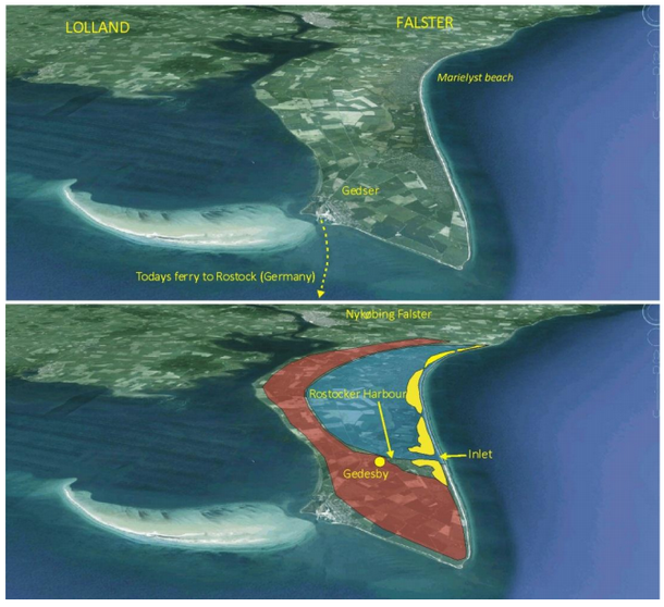 Top image shows the modern landscape.  Bottom image shows geography during the Little Ice Age with Rostocker Harbour open.  The area marked in yellow shows a chain of barrier islands, with the blue area below sea level and at that time covered in sea.