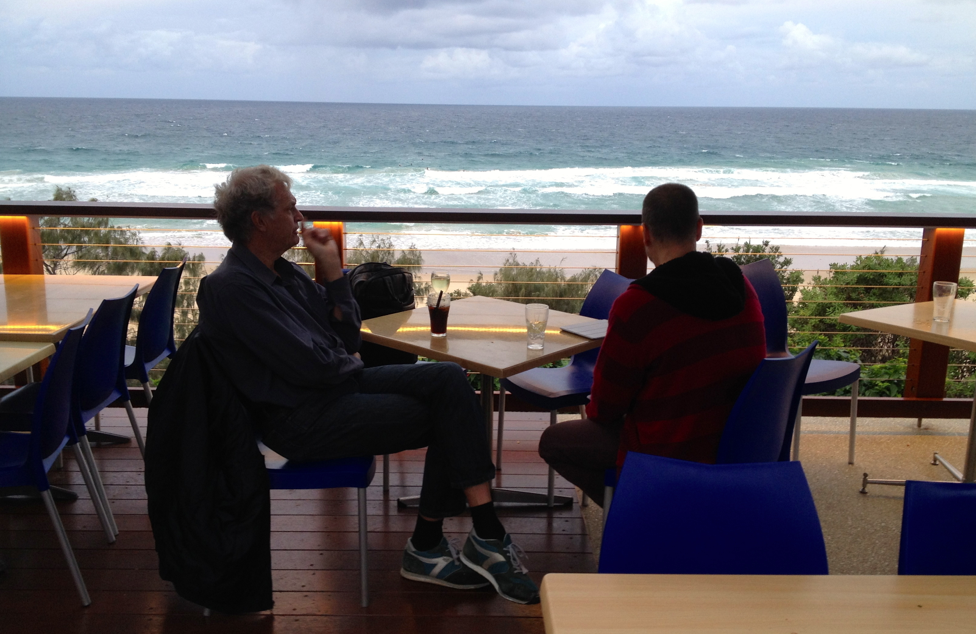 John Abbot thinking at the Sunshine Beach Surf Club.