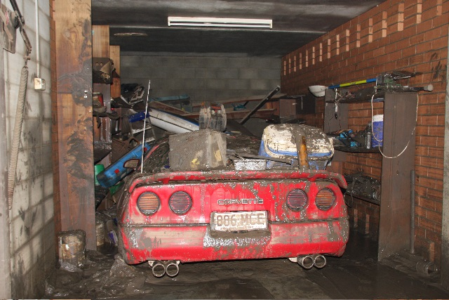 John Abbot's corvette which was submerged in the Brisbane flooding of January 2011.