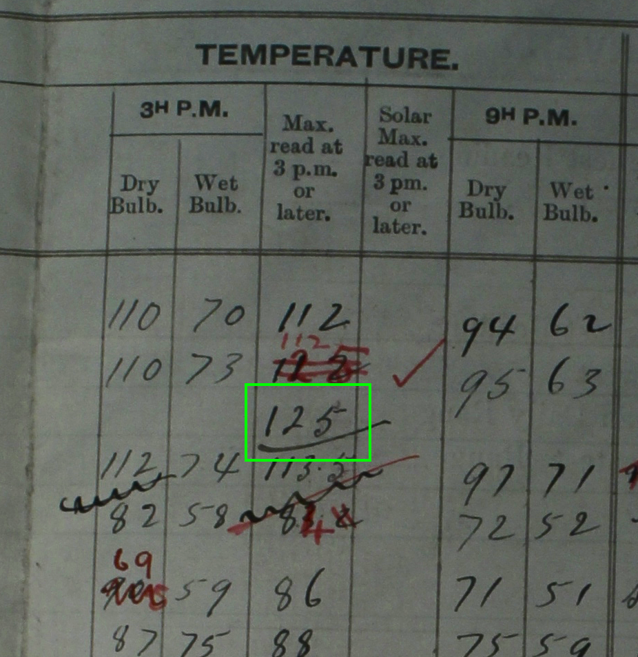 Exhibit 1. Photograph from log book of temperature recording as made at Bourke post office in January 1909.   Photograph taken by Jennifer Marohasy at National Archives of Australia, Chester Hill reading room, on 26 June 2014.