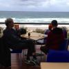John Abbot thinking at the Sunshine Beach Surf Club.