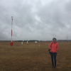 Jennifer Marohasy visiting the automatic weather station at Goulburn in late July 2017.